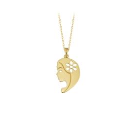 eJOYA 14 Ayar Altın Papatyalı Kız Taşlı Kolye 83959