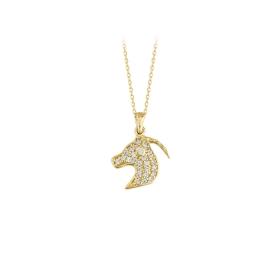 eJOYA 14 Ayar Altın Koç Boynuz Taşlı Kolye 83961