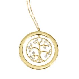 eJOYA 14 Ayar Altın Ağaç Taşlı Kolye 84001