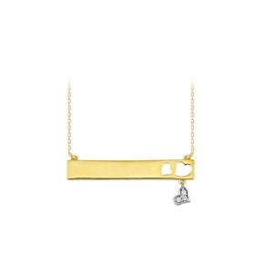 eJOYA 14 Ayar Altın Şerit Kalp Kolye 84036