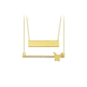 eJOYA 14 Ayar Altın Şerit Kelebek Kolye 84051