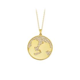 eJOYA 14 Ayar Altın Dünya Kolye 84060