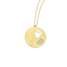 eJOYA 14 Ayar Altın Anne Bebek Kolye 84082