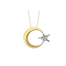 eJOYA 14 Ayar Altın Ay Yıldız Taşlı Kolye 84127