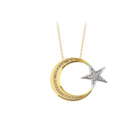 eJOYA 14 Ayar Altın Ay Yıldız Taşlı Kolye 84128