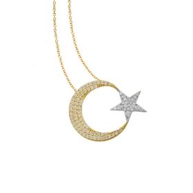 eJOYA 14 Ayar Altın Ay Yıldız Taşlı Kolye 84129