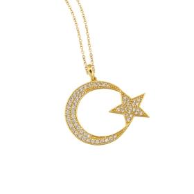 eJOYA 14 Ayar Altın Ay Yıldız Taşlı Kolye 84130