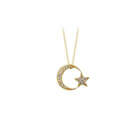 eJOYA 14 Ayar Altın Ay Yıldız Taşlı Kolye 84131