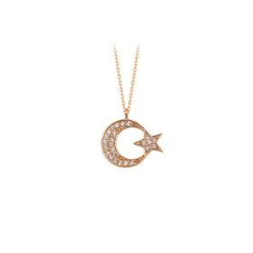 eJOYA 14 Ayar Altın Ay Yıldız Taşlı Kolye 84132