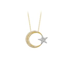 eJOYA 14 Ayar Altın Ay Yıldız Kolye 84134
