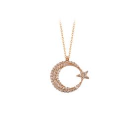 eJOYA 14 Ayar Altın Ay Yıldız Kolye 84135