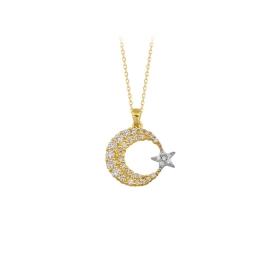 eJOYA 14 Ayar Altın Ay Yıldız Taşlı Kolye 84136