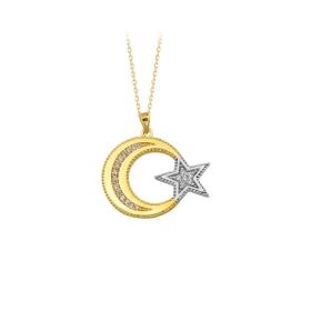 eJOYA 14 Ayar Altın Ay Yıldız Taşlı Kolye 84137
