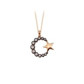eJOYA 14 Ayar Altın Ay Yıldız Taşlı Kolye 84138