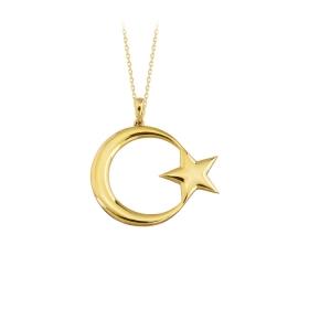 eJOYA 14 Ayar Altın Ay Yıldız Taşlı Kolye 84142