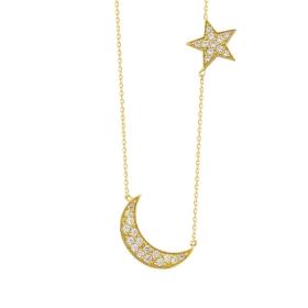 eJOYA 14 Ayar Altın Ay Yıldız Taşlı Kolye 84145