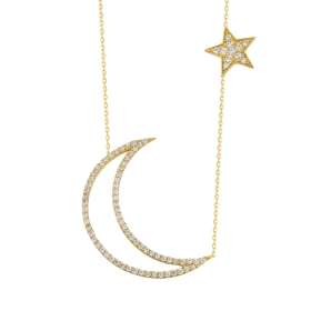 eJOYA 14 Ayar Altın Ay Yıldız Taşlı Kolye 84146