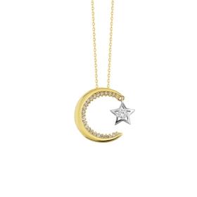eJOYA 14 Ayar Altın Ay Yıldız Taşlı Kolye 84147