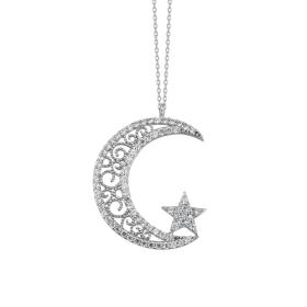 eJOYA 14 Ayar Altın Ay Yıldız Taşlı Kolye 84148