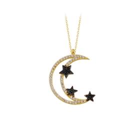 eJOYA 14 Ayar Altın Ay Yıldız Taşlı Kolye 84150