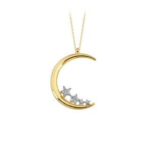 eJOYA 14 Ayar Altın Ay Yıldız Taşlı Kolye 84151