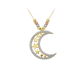 eJOYA 14 Ayar Altın Ay Yıldız Taşlı Kolye 84152