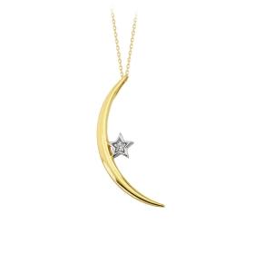 eJOYA 14 Ayar Altın Ay Yıldız Taşlı Kolye 84153