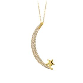 eJOYA 14 Ayar Altın Ay Yıldız Taşlı Kolye 84154