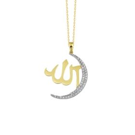 eJOYA 14 Ayar Altın Allah Taşlı Kolye 84173