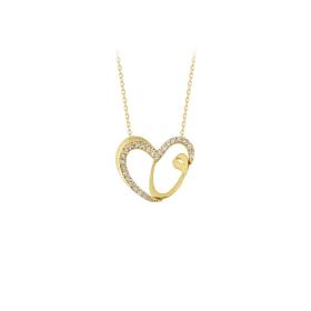 eJOYA 14 Ayar Altın Vav Kalp Taşlı Kolye 84198