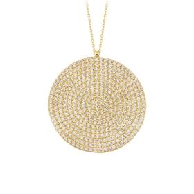 eJOYA 14 Ayar Altın Mozaik Çember Taşlı Kolye 84225