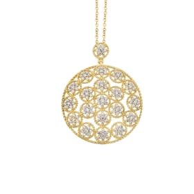 eJOYA 14 Ayar Altın Mozaik Çember Taşlı Kolye 84232