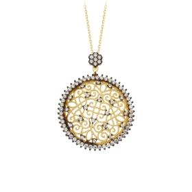 eJOYA 14 Ayar Altın Mozaik Çember Taşlı Kolye 84235