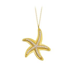 eJOYA 14 Ayar Altın Yıldız Taşlı Kolye 84283