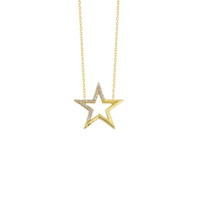 eJOYA 14 Ayar Altın Yıldız Taşlı Kolye 84286