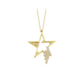 eJOYA 14 Ayar Altın Yıldız Taşlı Kolye 84307