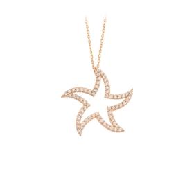 eJOYA 14 Ayar Altın Yıldız Taşlı Kolye 84311