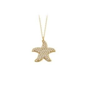 eJOYA 14 Ayar Altın Yıldız Taşlı Kolye 84315