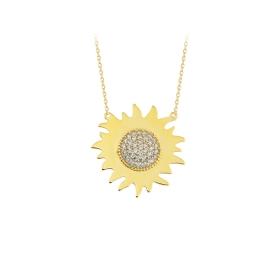 eJOYA 14 Ayar Altın Güneş Taşlı Kolye 84341