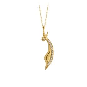 eJOYA 14 Ayar Altın Kılıç Taşlı Kolye 84373