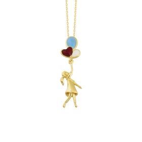 eJOYA 14 Ayar Altın Balonlu Kız Taşlı Kolye 84384