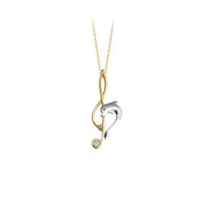 eJOYA 14 Ayar Altın Sol Anahtarı Yunus Taşlı Kolye 84385