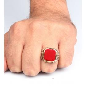eJOYA 925 Ayar Kırmızı Oniks Taşlı Gümüş Erkek Yüzük 84527