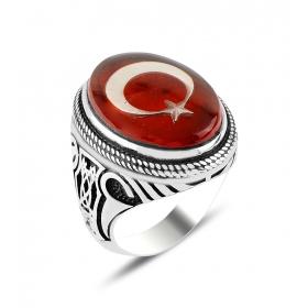 eJOYA 925 Ayar Kırmızı Kehribar Türk Bayraklı İşlemeli Taşlı Gümüş Erkek Yüzük 84528