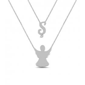 eJOYA Kişiye Özel Harfli Melek Gümüş Kolye 84583