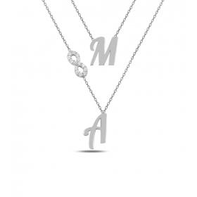 eJOYA Kişiye Özel Sonsuzluk Harfli Gümüş Kolye 84596