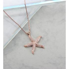 eJOYA Taşlı Deniz Yıldızı Gümüş Kolye 84694