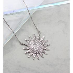 eJOYA Taşlı Güneş Gümüş Kolye 84702