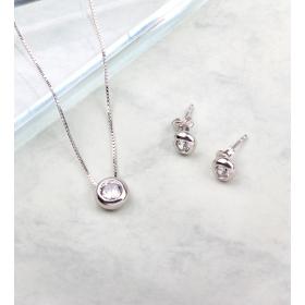 eJOYA Tektaş Kolye Küpe Gümüş Takım 84849