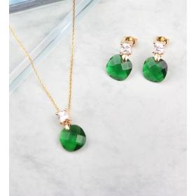 eJOYA Zircone Taşlı Yeşil Gümüş Takım 84877